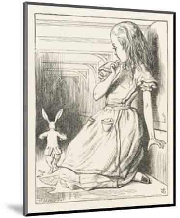Alice Watches the White Rabbit Disappear Down the Hallway-John Tenniel-Mounted Premium Giclee Print