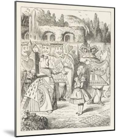"""Alice and the Queen of Hearts """"Off with Her Head!""""-John Tenniel-Mounted Giclee Print"""