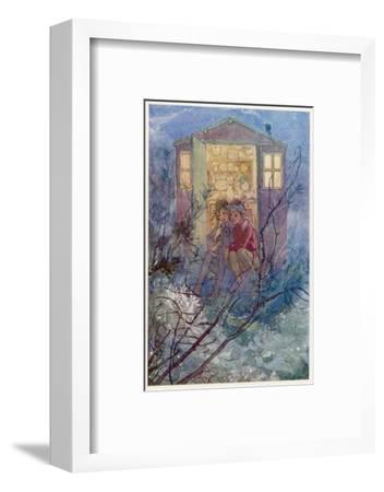 Peter Pan and Wendy Sit on the Doorstep of the Wendy House-Alice B^ Woodward-Framed Giclee Print