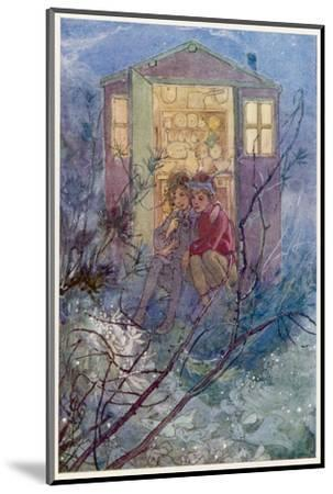 Peter Pan and Wendy Sit on the Doorstep of the Wendy House-Alice B^ Woodward-Mounted Giclee Print