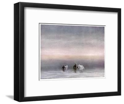 Scott Exercising the Ponies Through the Snow-Edward A^ Wilson-Framed Giclee Print