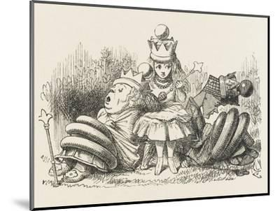 Alice with the Sleeping Queens-John Tenniel-Mounted Giclee Print