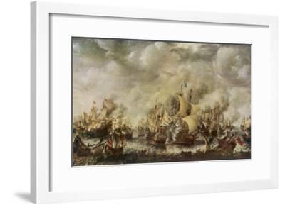 Sea Fight Between the English and the Dutch off the Coast of Ter Heyde--Framed Giclee Print