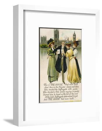 Minister Assailed by Suffragettes Outside the House of Commons--Framed Premium Giclee Print