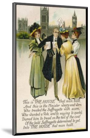 Minister Assailed by Suffragettes Outside the House of Commons--Mounted Premium Giclee Print