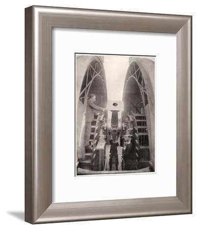 Greenwich Observatory the Astronomer Royal Mr. Frank Dyson Taking a Reading with an Altazimuth--Framed Giclee Print