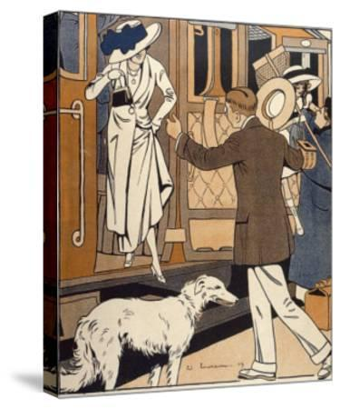 Lady is Welcomed as She Arrives at a Station-Ed Touraine-Stretched Canvas Print