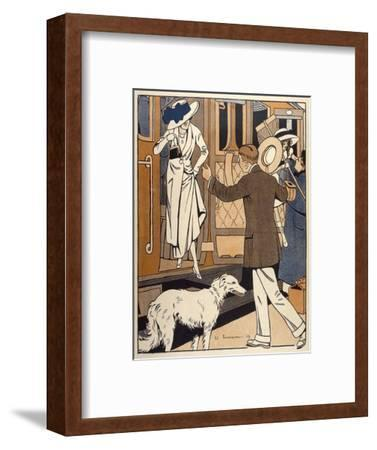 Lady is Welcomed as She Arrives at a Station-Ed Touraine-Framed Giclee Print