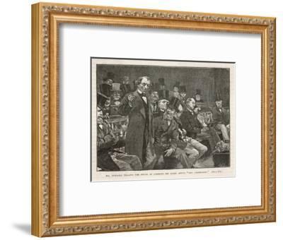 Tory Prime Minister Benjamin Disraeli Speaks During a Debate on Irish Home Rule--Framed Giclee Print