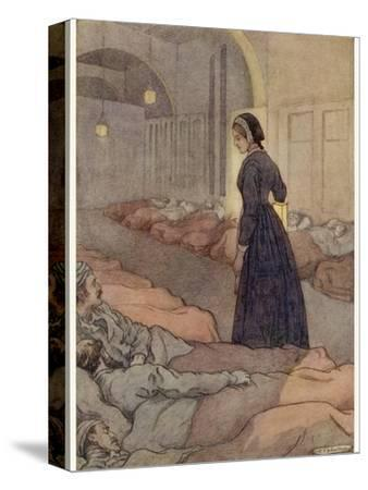 In Scutari Florence Nightingale Checks Patients During the Night-M^v^ Wheelhouse-Stretched Canvas Print