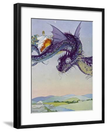 The Sorceress Medea Flies Through the Greek Airspace in Her Serpent-Powered Chariot-Virginia Frances Sterrett-Framed Giclee Print