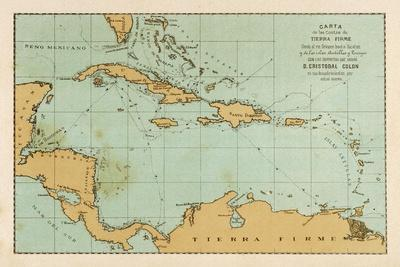 Map Showing the Travels of Columbus in the Caribbean--Stretched Canvas Print