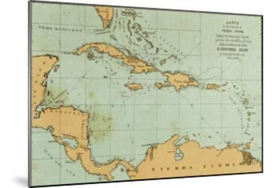 Map Showing the Travels of Columbus in the Caribbean--Mounted Giclee Print