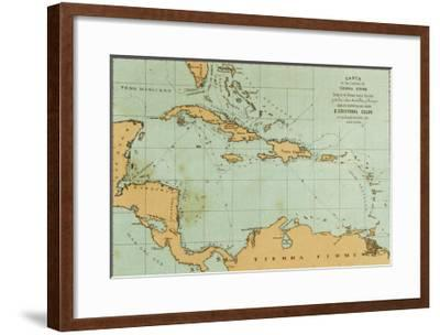 Map Showing the Travels of Columbus in the Caribbean--Framed Giclee Print
