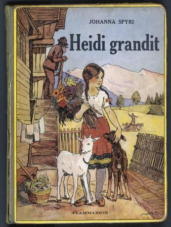 Heidi Holding a Bunch of Flowers and Petting Her Two Goats--Stretched Canvas Print