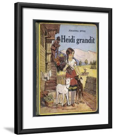 Heidi Holding a Bunch of Flowers and Petting Her Two Goats--Framed Giclee Print