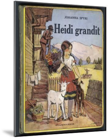 Heidi Holding a Bunch of Flowers and Petting Her Two Goats--Mounted Giclee Print
