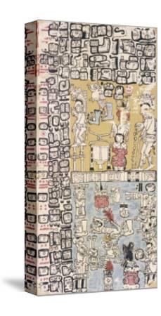 Part of a Calendar Used by Maya Priests, Depicting Gods and Symbolic Creatures--Stretched Canvas Print