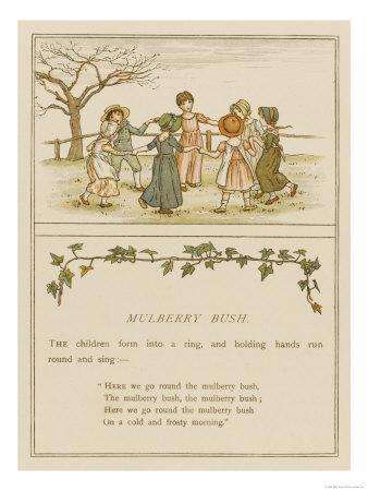 Children Playing Here We Go Round the Mulberry Bush--Framed Giclee Print