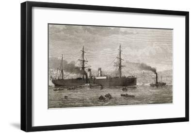 """The French Transatlantic Company's Steamship """"Amerique"""" Towed into Plymouth by Tugs-J.r. Wells-Framed Giclee Print"""