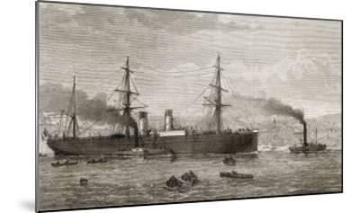 """The French Transatlantic Company's Steamship """"Amerique"""" Towed into Plymouth by Tugs-J.r. Wells-Mounted Giclee Print"""