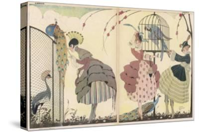 """Satire on the Current """"Peacock"""" Modes-Gerda Wegener-Stretched Canvas Print"""