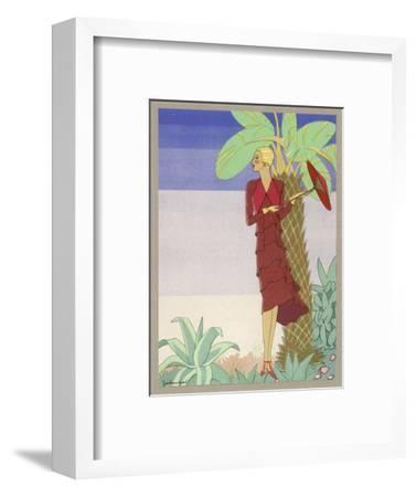 Surrounded by Exotic Vegetation She Stands Primly with Her Parasol- Zeilinger-Framed Giclee Print