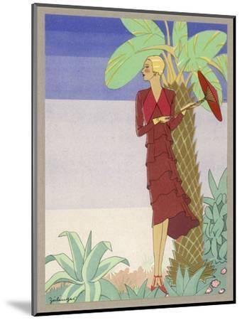 Surrounded by Exotic Vegetation She Stands Primly with Her Parasol- Zeilinger-Mounted Giclee Print