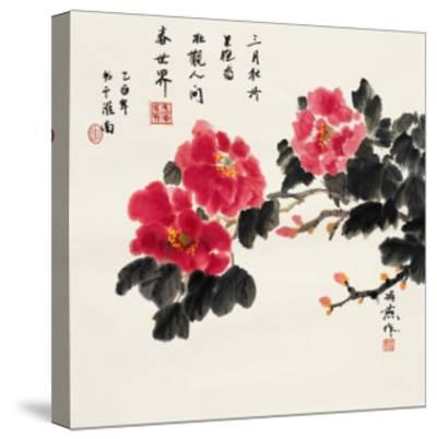Three Red Peonies-Feng Yan-Stretched Canvas Print