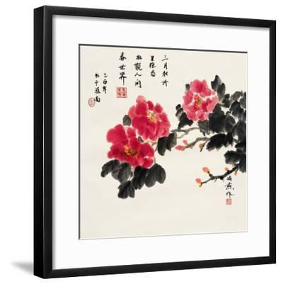 Three Red Peonies-Feng Yan-Framed Giclee Print