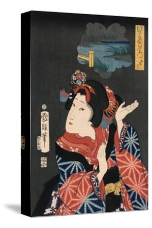 Famous Places in Edo: Ai No Uchi Matched to Oshichi-Kuniteru Utagawa-Stretched Canvas Print