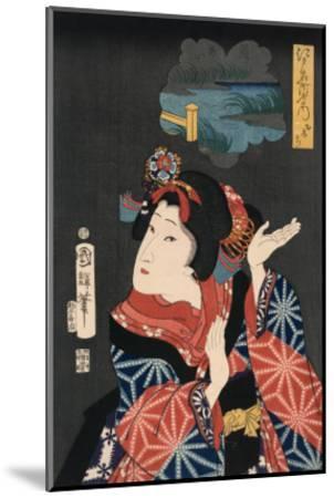 Famous Places in Edo: Ai No Uchi Matched to Oshichi-Kuniteru Utagawa-Mounted Art Print