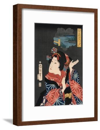 Famous Places in Edo: Ai No Uchi Matched to Oshichi-Kuniteru Utagawa-Framed Art Print