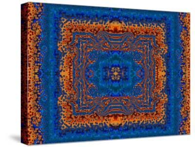 Blue and Orange Morrocan Style Fractal Design-Albert Klein-Stretched Canvas Print