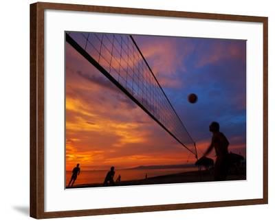 Sunset Volleyball on Playa De Los Muertos (Beach of the Dead), Puerto Vallarta, Mexico-Anthony Plummer-Framed Photographic Print