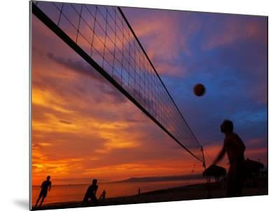 Sunset Volleyball on Playa De Los Muertos (Beach of the Dead), Puerto Vallarta, Mexico-Anthony Plummer-Mounted Photographic Print