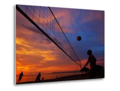 Sunset Volleyball on Playa De Los Muertos (Beach of the Dead), Puerto Vallarta, Mexico-Anthony Plummer-Metal Print
