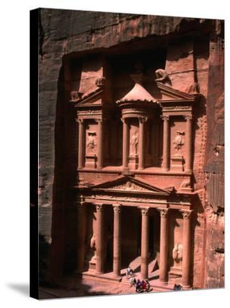 High Angle View of El Khasneh (The Treasury), Petra, Jordan-John Elk III-Stretched Canvas Print