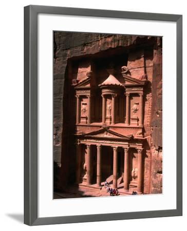 High Angle View of El Khasneh (The Treasury), Petra, Jordan-John Elk III-Framed Photographic Print
