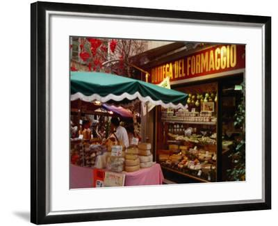 Cheese Stall Outside Cheese Shop on Via Pessina, Lugano, Ticino, Switzerland-Stephen Saks-Framed Photographic Print