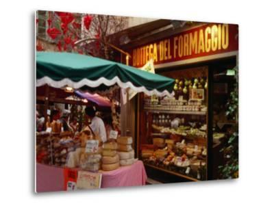 Cheese Stall Outside Cheese Shop on Via Pessina, Lugano, Ticino, Switzerland-Stephen Saks-Metal Print