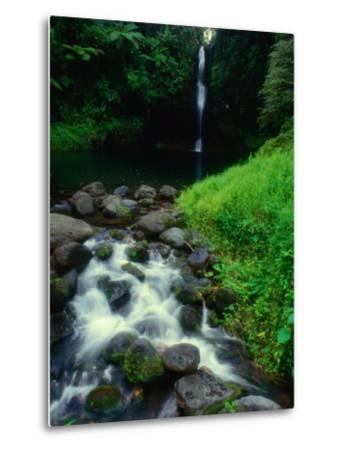 Water Streaming Over Rocks at Olemoe Waterfall, Olemoe Falls, Samoa-Tom Cockrem-Metal Print