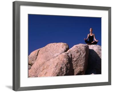Yoga on the Rocks in the Joshua Tree National Park, California, USA-Cheyenne Rouse-Framed Photographic Print