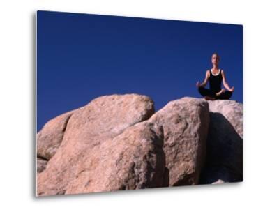 Yoga on the Rocks in the Joshua Tree National Park, California, USA-Cheyenne Rouse-Metal Print