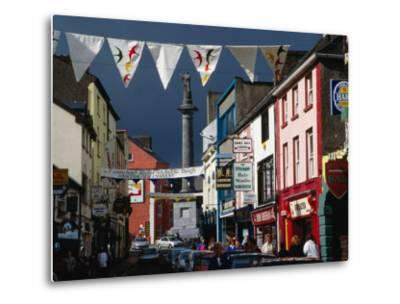 Street Decorated with Buntings and Signs, Ennis, Ireland-Wayne Walton-Metal Print