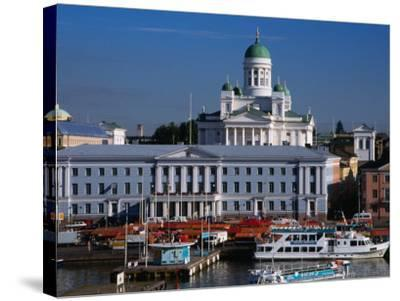 Boats on Waterfront and Lutheran Church in Distance, Helsinki, Finland-Wayne Walton-Stretched Canvas Print