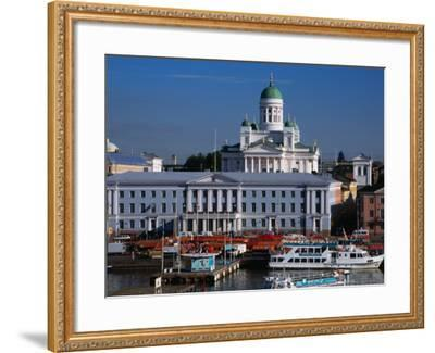 Boats on Waterfront and Lutheran Church in Distance, Helsinki, Finland-Wayne Walton-Framed Photographic Print