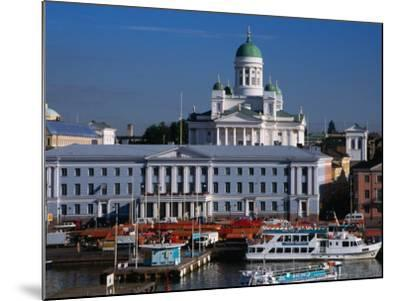 Boats on Waterfront and Lutheran Church in Distance, Helsinki, Finland-Wayne Walton-Mounted Photographic Print