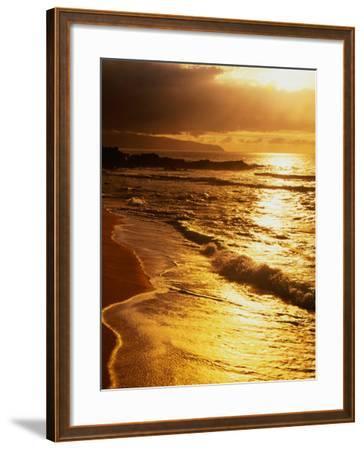 Sunset at the Beach on the North Shore, Pupukea Beach Park, Oahu, Hawaii, USA-Ann Cecil-Framed Photographic Print