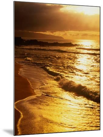 Sunset at the Beach on the North Shore, Pupukea Beach Park, Oahu, Hawaii, USA-Ann Cecil-Mounted Photographic Print